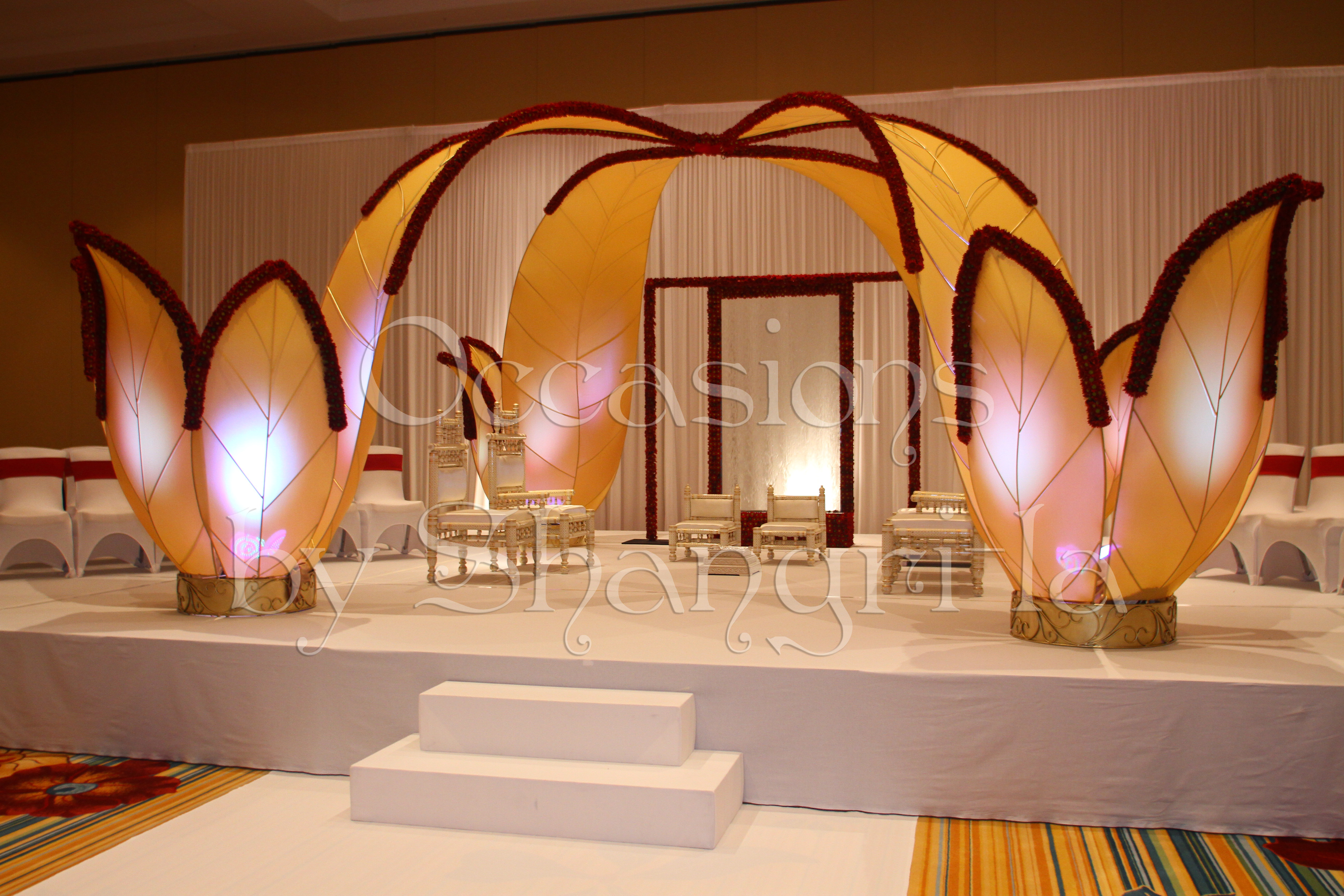 Custom event design lotus mandap occasions by shangrila beginning in the pre function area guests we greeted with a lotus water fountain and the water concept continued dhlflorist Images